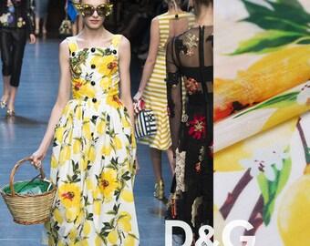 "Fshion Silk Linen Fabric - 13m/m 55"" Digital Printing  Lemon for Spring/Summer dresses/skirts/shirts/pillows/home decor - 1 yard"