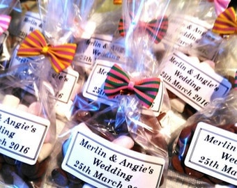 Chocolate and marshmallow wedding favours