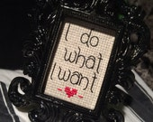 Mini Black Baroque Framed Cross Stitch - I Do What I Want