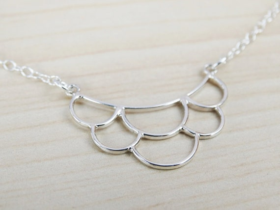 Dainty Silver Scalloped Necklace - Sterling Silver