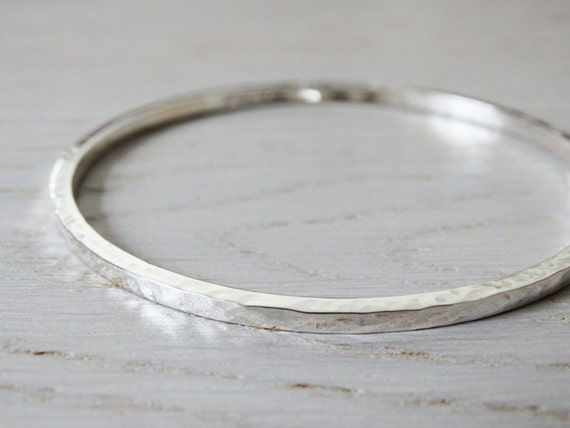 Silver Bangle - Solid Silver Hammered Bangle - Sterling Silver