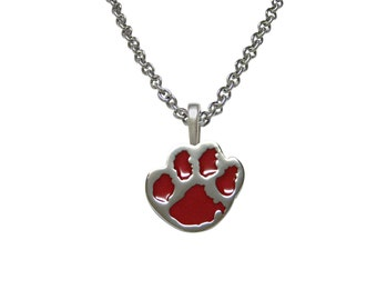 Red Animal Paw Pendant Necklace