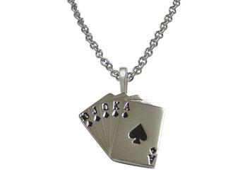 Royal Flush Gambling Poker Pendant Necklace