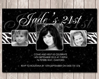 Photo Personalised Birthday Invitations 16th 18th 21st 30th - You Print