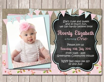 Vintage Shabby Chic Photo Personalised Birthday Invitation - YOU PRINT