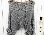 Special price.Loose knit sweater gray  sweater / loose knit Cotton Sweater  women's clothing