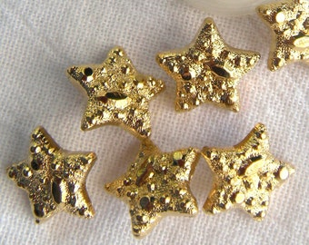 6 Gold Star Buttons, 17 mm, Nugget Textured Surface, Bright Gold, Gold Plated, Self Shank, Shiny,6 Gold Nugget Buttons,  5 pt stars