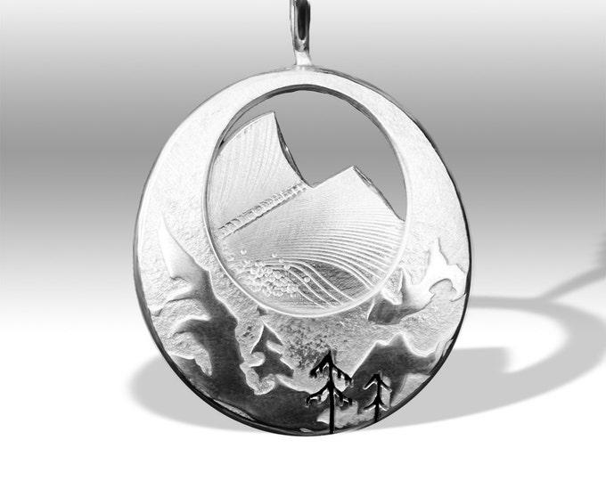 Mountain Pendant, Silver Pendant, Silver Jewellery, Silver Jewellery, Ski pendant.