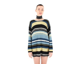 SALE - Babysitters Club Grunge 90s Pastel Stripe Knit Slouchy / Oversized Sweater Long Sleeve Mini Dress