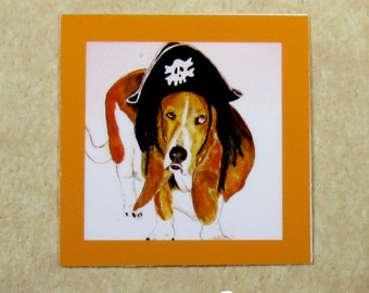 Halloween Basset Hound Cling Wine Charms - Pirate Basset Hound Wine Glass Markers, Wine Tags, Wine ID