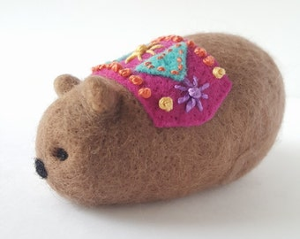 Regal Beasts Collection - Needle Felted Bear with Embroidered Cape and Rug