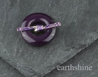 Deep purple lampwork glass toggle clasp.