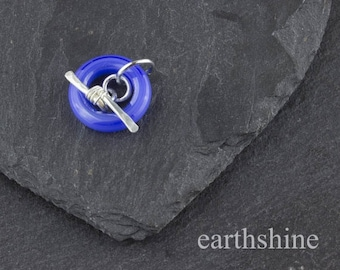 Periwinkle blue handmade glass toggle clasp