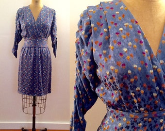 Beautiful perwinkle blue floral silk 70s dress made for Bergdorf Goodman
