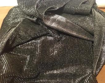 Black and Silver Tinsel Sheer Fabric F61