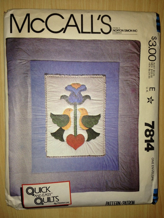 McCalls 80s Sewing Pattern 7814 Pennsylvania Dutch Quilt
