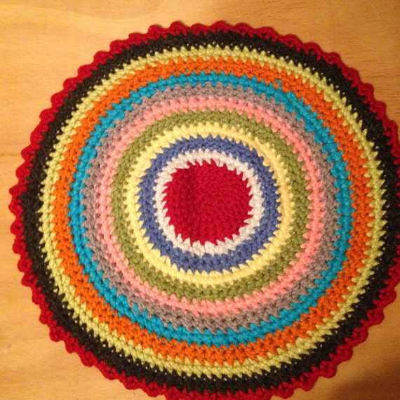 Small Vintage Handmade Crochet Round Colorful Throw Rug