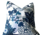Schumacher Chiang Mai Dragon Pillow Cover in China Blue, Decorative Pillow Cover, Throw Pillow Cover, Toss Pillow, Accent Pillow, Home Decor