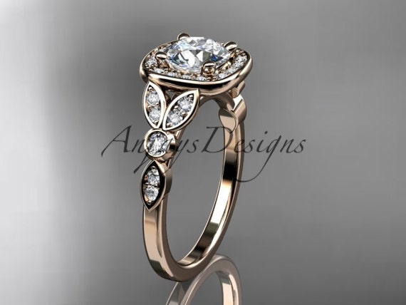 14kt  rose gold diamond leaf and vine wedding ring,engagement ring ADLR179