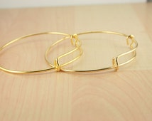 Gold Charm Holder Bracelet Bangle - Create a Stack Bracelet, Add your own Charms. Pick your quantity. New Shiny GOLD. USA