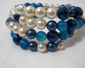 White and Blue Memory Wire Wrap Bracelet 3 Coil Stackable Jewelry