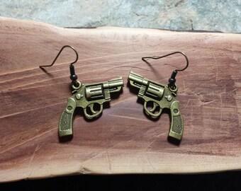 Antique Brass Colored Revolver Gun Earrings