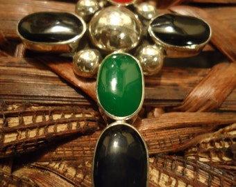 Vintage Sterling Silver Onyx, Green and Silver Cross Circa 1990