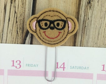 Monkey Nerd - Brown - Planner Paper Clip, Planner Nerd Bookmark, Monkey Planner Paperclip, Animal Planner Book Mark, Nerd Gifts