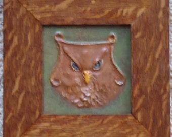 """Framed 5"""" X 5"""" Ephraim Pottery tile titled """"Old Sage"""""""