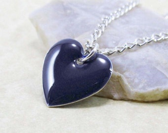 Pendant Charm Necklace - Dark Midnight Blue Epoxy Enamel Heart - Sterling Silver Plated over Brass Cable or Ball Chain