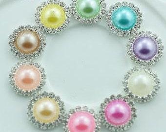 SET of 10 Round Pearl Rhinestone Button / 16mm metal rhinestone pearl button / wedding embellishment / scrapbooking / flower center