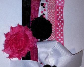 Colorful Interchangeable Headband Set – Minnie Mouse - Elastic Headbands – DIY – Baby Shower – Shabby Flowers - Hair Bows