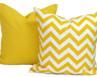 YELLOW PILLOWS SET. 20x20, 18x18, or 16x16 inch.Pillow Covers.Decorative Pillow.Solid.Chevron.Pillows.Yellow Cushions.cm.Yellow Solid Pillow