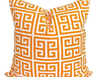 ORANGE PILLOW.18x18 inch.Pillow Cover. Decorative Pillow.Orange Greek Key.Orange Throw PIllow.Greek Key.Maze.Geometric Pillow.Cushion.Cm