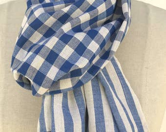 Blue Plaid Scarf,  blue Cotton Scarf,  skinny  infinity scarf, Christmas Gifts For Her For Him,  Men Scarf, womens  Gift for Women, PiYOYO