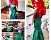 HAVANNA- mermaid costume with fabric shells top, mermaid costume, mermaid party, Ariel Mermaid costume, walkable mermaid tail