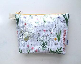 Botanical Divided Flat Bottom Pouch Medium (handmade philosophy's pattern)