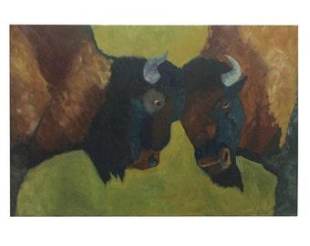 Buffalos Original Oil Painting