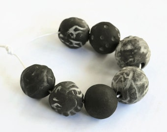 Black beads, African beads, made in South Africa,  Textured and unglazed black/charcoal ceramic beads made in South Africa, organic beads