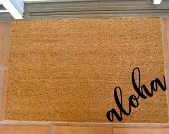 ALOHA CORNER COIR Doormat  ... Hand Painted on a Coir Mat