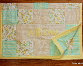 Personalized Patchwork Baby Quilt - Circus Theme Big Top Dreams - willow - with coordinating bunting
