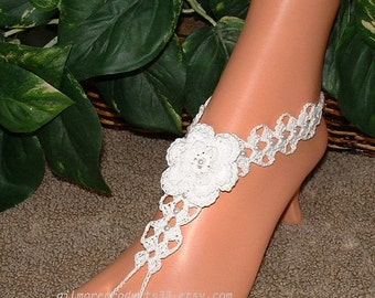 Beach Wedding Barefoot Shoes. Sandals. Beach Wedding Foot Jewelry. Beach Anklet Shoes. Wedding Footless Sandles. Crochet Lace Sandals