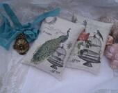 CUSTOM for Arabell...2 FRENCH PEACOCKs Lavender Sachets - Refillable - 2 Lavender Gift Sachets - Sachet Gift Bundle - Bird - Birdcage