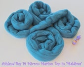 Dyed Merino Top from Ashland Bay - 2 oz of 19.5 Micron Combed Top for Spinning or Felting in Maldives - Medium Blue Merino Top/Merino Roving