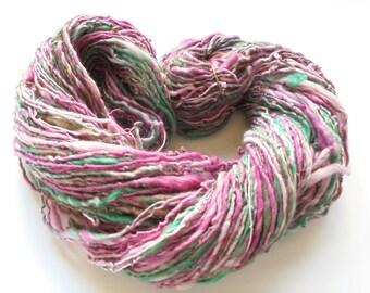 Handspun Yarn, SOFTER THAN SPRINGTIME, Dk-weight yarn, Luxury Handspun, Merino Wool Yarn, Merino Handspun, Silk Yarn, Shimmery Yarn, Smoosh