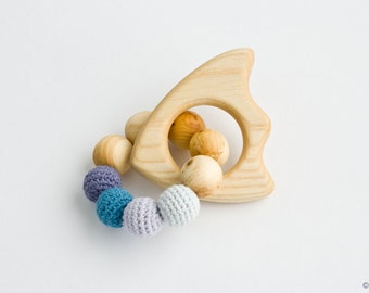 Organic Wooden Teething Ring FISH, Wooden Rattle, Baby Toy - New Baby Gift, Shower Gift - FrejaToys