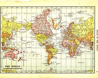 100 Year Old Map of the World on Mercator's Projection - Vintage Art Image - Instant Digital Download