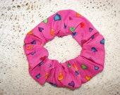 Multicolor Hearts Valentine fabric Hair Scrunchie, womans scrunchies, valentine's day heart, holiday, women's accessories, gifts for her