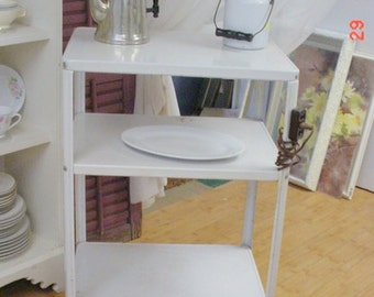 Retro Kitchen Cart Metal 3-Tier with Electric Plug