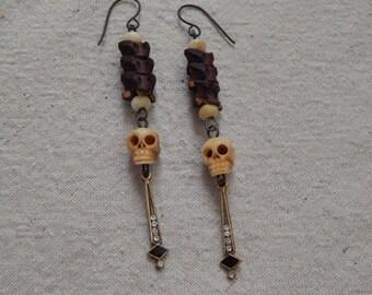 Art Deco Bone Skull Snake Vertebrae Earrings
